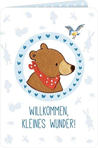 (Grußkarten - BabyBär - Willkommen, kleines Wunder! (blau))