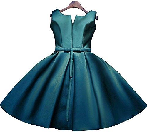 Beauty-Emily Satin scollo a V Ruffles Lace-Up maniche vestito da cocktail Verde scuro