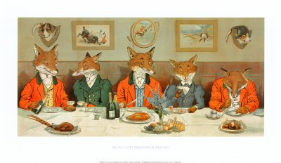 Mr. Fox's Hunt Breakfast Art Poster Print by H Neilson, 61x36