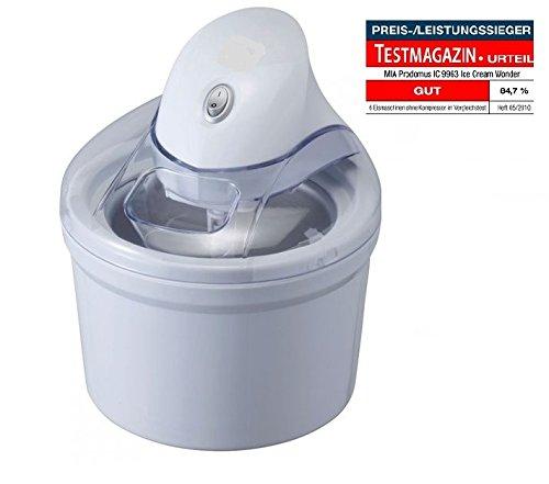 Perfect Mix Eismaschine Eiscreme Maschine 4in1( Speiseeismaschine Speiseeisbereiter, Sorbet Maschine, Frozen Yoghurt Maschine, Eiswürfelbehälter ), 1,2 L, Eisherstellung 15 min. + 3x Speiseeispulver