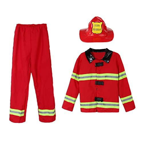 Baoblaze Kinder Feuerwehrmann Kostüm Feuerwehr Junge Uniform Kinderkostüm Set für Halloween Karneval Fasching Mottoparty - ()