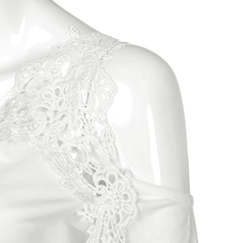 Tefamore Damen Off Schulter Spitze Kurzarm Hemd Damen Casual Tops T-shirt Weiß