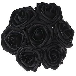 Bihood Flores Artificiales Falsas Rosas Negras Falsas Rosas Negras Flores Artificiales Rosa Negra Flores Negras Flor para Bodas Decoración Funerarias Decoración De Halloween