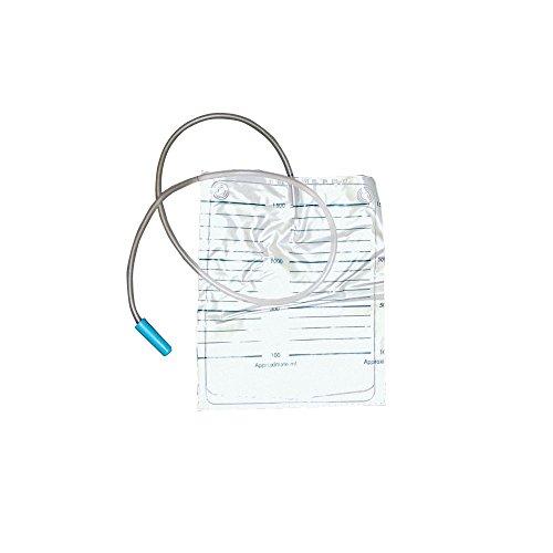 100x Ratiomed Urinbeutel, Urinauffangbeutel, unsteril, 90 cm Schlauch, 1,5 Liter