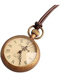 MC-BLL-Pocket Watch Reloj de Bolsillo de Cuerda de Cuero para Damas Vintage, Elegante, de Tres Agujas, con Grosor…