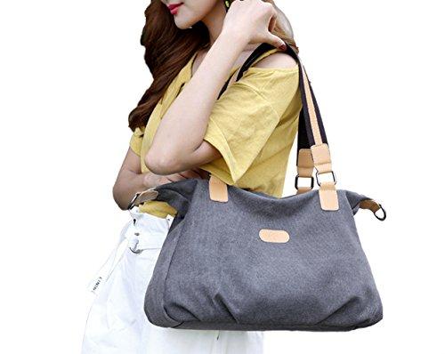 PB-SOAR Damen Vintage Canvas Schultertasche Handtasche Umhängetasche Shopper Beuteltasche Freizeittasche 40x30x12cm (B x H x T) (Dunkel Grau) Dunkel Grau