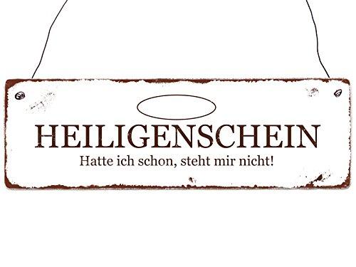 INTERLUXE Türschild Holzschild HEILIGENSCHEIN Lustig Religion Geschenk Shabby