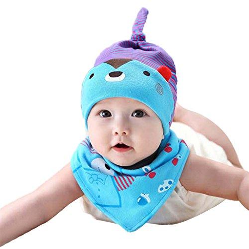 zhouba 2Baby Kleinkinder Neugeborene Cartoon Bear Hat Lätzchen-Set Triangle Speichel Handtuch Kopf Schal Gap