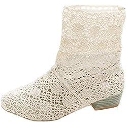 Minetom Mujer Verano Otoño Sandalias de Cuña Platform Tobillo Boots Respirable Encaje Hueco Redonda Toe Zapatos Botas Blanco EU 38