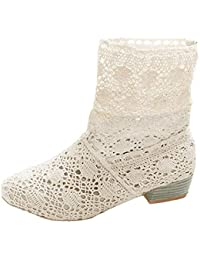 096c3e571f2 Minetom Mujer Verano Otoño Sandalias de Cuña Platform Tobillo Boots  Respirable Encaje Hueco Redonda Toe Zapatos