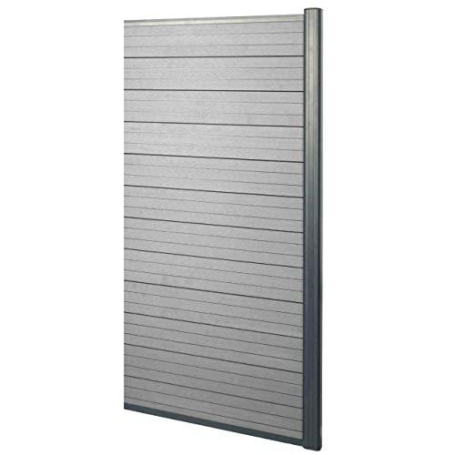 *Mendler WPC-Sichtschutz Sarthe, Windschutz Zaun, Alu-Pfosten ~ Erweiterungselement schmal, 0,95m grau*