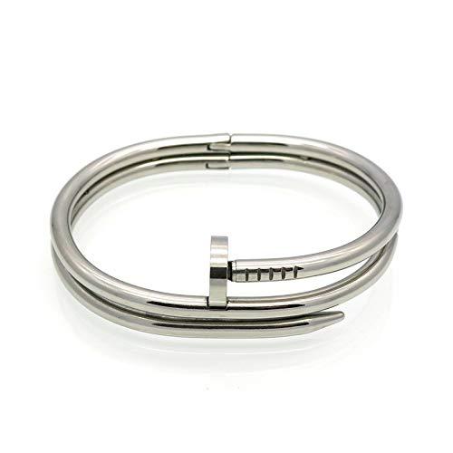Hsnzzpp braccialetti per donna bracciale con doppio chiodo bracciale in acciaio al titanio trend fashion bracciale doppio design regali per ragazze,steel-onesize