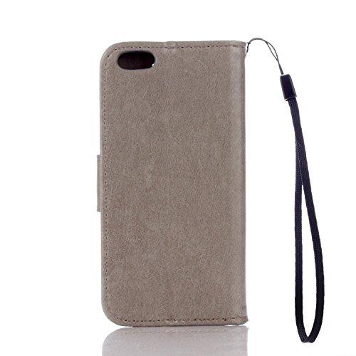 JIALUN-étui pour téléphone Pure Ribbon Card Slot Portefeuille Fonction Flat Open With Magnetic Buckle Phone Shell Pour IPhone 5 & 5s & SE ( Color : Gold ) Gray