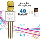 Wizzit© Q9 Portable Multi-function Wireless / Bluetooth Karaoke Microphone . Handheld Condenser Microphone With Bluetooth Speaker For IPhone IPad IPod And All Smartphone , Laptops & Computers (Gold)