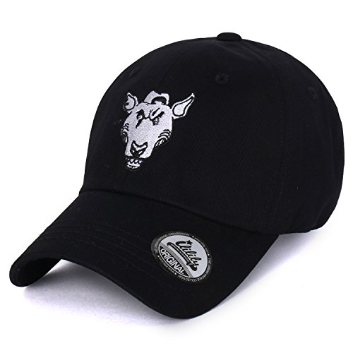 ililily Embroidered Unique Dog Cotton Curved Adjustable Starap Hat Baseball Cap
