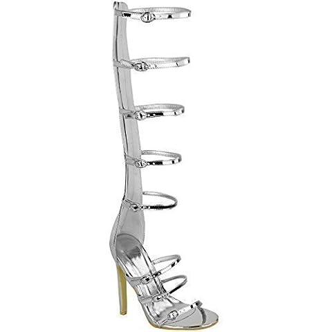 Nuovo Da Donna Al Ginocchio Tacco Alto Sandali Stile Gladiatore Con Bretelline Celebrità Cage Romano Misura - Argento Metallizzato, 40 EU