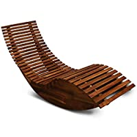 Deuba Sun Lounger Wooden Ergonomic FSC®-Certified Acacia Wood Rocking Deck Chair Recliner Garden Patio Pool Sauna