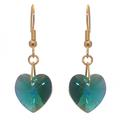 VALENTINE gold plated emerald green ab crystal heart hook earrings (Emerald Green Ohrringe Modeschmuck)