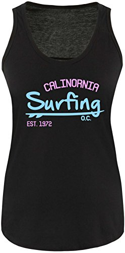 EZYshirt Surfing California Damen Tanktop Schwarz/Hellbl/Rosa