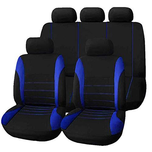 Coprisedili per auto - 1 set di 9 pezzi Coprisedili universali per seggiolini auto interi, testate posteriori anteriori Set completi Coprisedili auto impermeabili (blu grigio e rosso) (Colore : Blu)