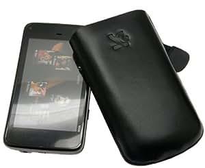 Original Suncase Echt Ledertasche (Lasche mit Rückzugfunktion) für Nokia N900 in schwarz