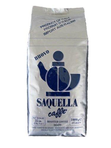 Saquella Miscela Blu stark, cremig, Robust, präsent im Nachgeschmack - 1 Kg ganze Bohne