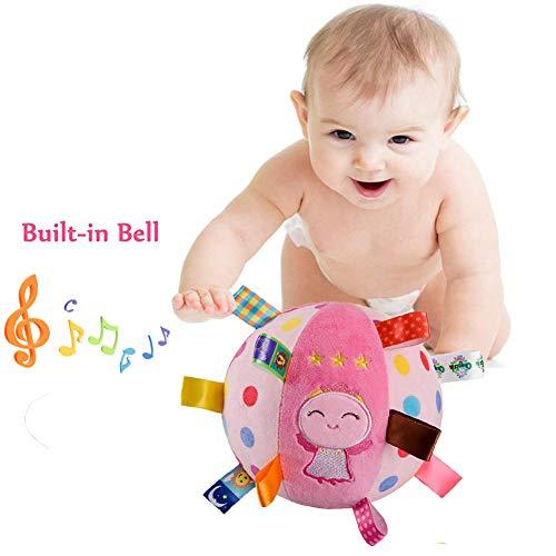 Inchant Baby-weiche Plüsch-Kugel Educational Stuffed Rattle Kugel Sensory-Ball Spielzeug für 4-12 Monate Kleinkind, Niedlich Winkel