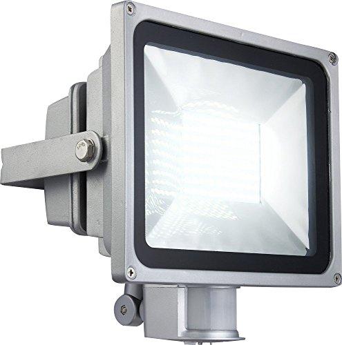 Projecteur fonte injectée argent, clair, DEL, orientable, IP44, capteur:180; allonge: 12m, LxLxH:225x160x245, incl. 80xDEL 0,5W 230V, 3200lm
