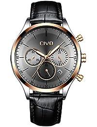 fbc2c5ee88e870 CIVO Orologio da Uomo Cronografo Multifunzione Impermeabile Nero Moda  Orologio da Polso con Acciaio Inossidabile in