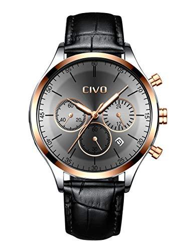 CIVO Orologio da Uomo Cronografo Multifunzione Impermeabile Nero Moda...