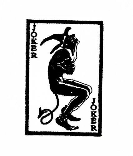 arte Halloween Wolfskopf-Motiv Patch Hand bestickt und Bügelbild Symbol Jacke T-Shirt patches aufnäher Zubehör (Karte Joker Halloween)