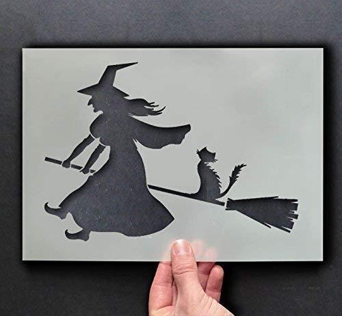 Hexe Reiten Besen Schablone | Halloween Dekor & Basteln Schablone | Farbe & Gestalte Zeichen,Wände, Stoffe, Möbel | Wiederverwendbar... - 17x24cm