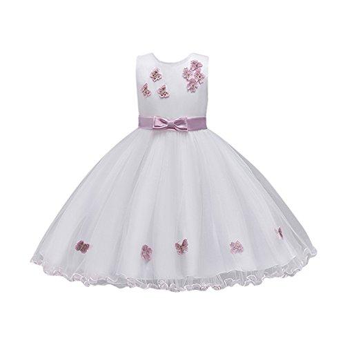 Mädchen Prinzessin Hochzeit Kleid Party Geburtstag Blumenmaedchenkleid Weihnachten Blumen Formal Brautjungfer Pageant Kleid Tutu Tüll Bogen Kleider Lonshell (A Rosa, 4T)