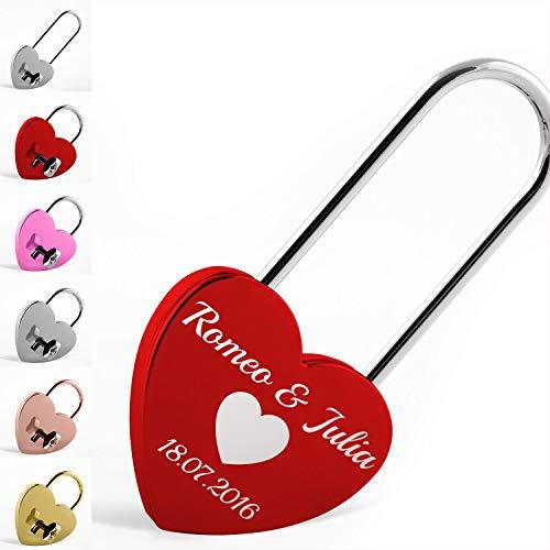 Herzform Liebesschloss in rot mit langem Bügel und persönlicher Gravur: Unser wunderschönes glänzendes personalisiertes Liebesschloss in Rot mit Deinen Wünschen graviert. Beliebt für viele Anlässe