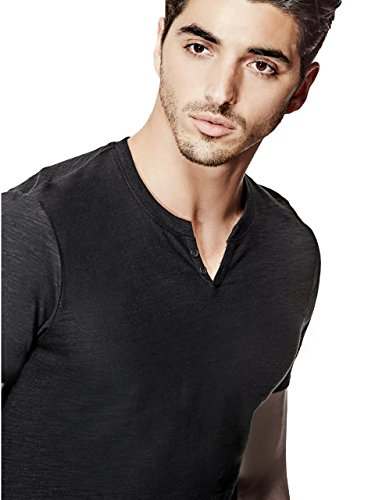 Guess G by Mens Ricky Slub Slit Henley Jet Black