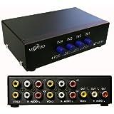 KALEA-INFORMATIQUE © - Switch AUDIO Stereo + VIDEO Composite - 4 Ports Aiguille une entrée vers 4 sorties ou 4 entrées vers une sortie