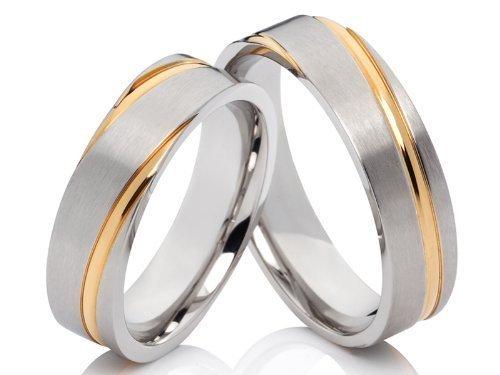 2 Ringe Partnerringe Trauringe Eheringe Verlobungsringe aus Edelstahl silbern-gold bicolor mit kostenloser Gravur