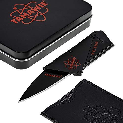Tamawie® TC100 Kreditkartenmesser Kartenmesser Scheckkartenmesser Faltmesser Klappmesser (Black)