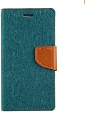 4 Season Presents Green Canvas Wallet Flip Case Cover For REDMI MI 3S PRIME