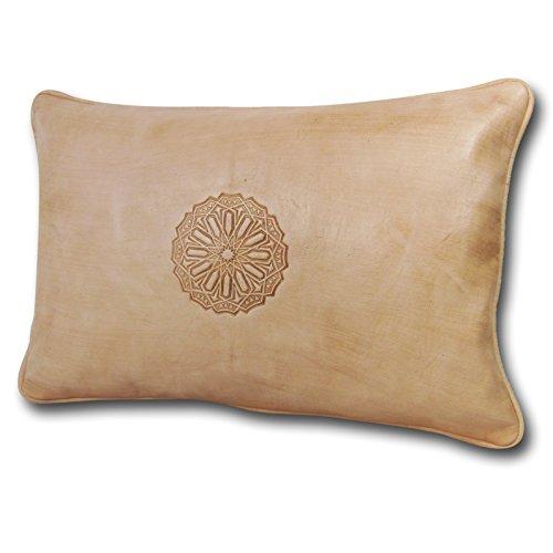 ALMADIH Leder-Kissen XL weiß Creme 50x35 cm aus Lammleder - 100% traditionelle Handarbeit - Sofakissen Dekokissen Zierkissen orientalische Lounge Kissen inkl. Füllung naturfarben (Kissen XL weiß) - Leder Traditionellen Bett