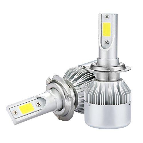 Carbone di corsa del proiettore dell'automobile C6 H7 LED di Mesllin 120W COB Chip 20000lm 6000K Corredo di conversione 12V / 24V Sostituzione dell'alogeno o lampadine NASCOSTE (H7)