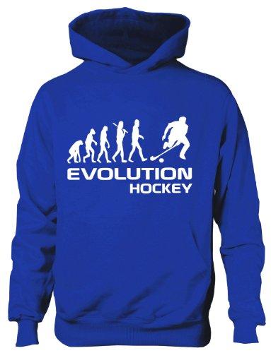 Print4U Hockey ~ Evolution of ~ Kinder Jungen Mädchen Hoodie ~ in 6 Farben ~ Alter 5-15 Gr. 12 Jahre, blau