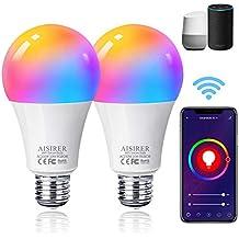 Bombilla LED Inteligente WiFi, AISIRER 10W E27 Lámpara, WiFi Bombilla Luces Cálidas/Frías & RGB Funciona con Alexa (Echo, Echo Dot) Google Home, 16 Millones de Colores, 2 Pack