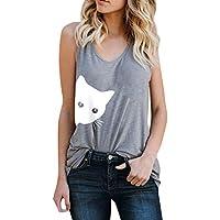 Luckycat Ropa Camiseta sin Mangas Tank Tops para Mujeres, Mujer Impresión De Patrón De Gato