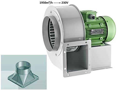 Ventilateur radial 180 x 70 (2), 1950 m3h avec bride à 4 angles , pour utilisation industrielle, Ventilateur centrifuge - En métal - Adaptateur rond vers carré - 125 mm
