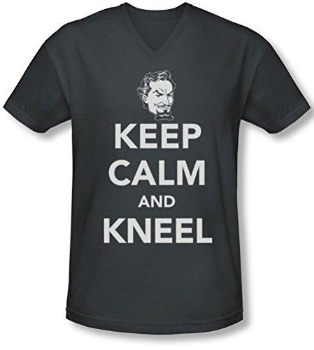 Dc - Männer Halten Sie Ruhe und Knien mit V-Ausschnitt T-Shirt Charcoal