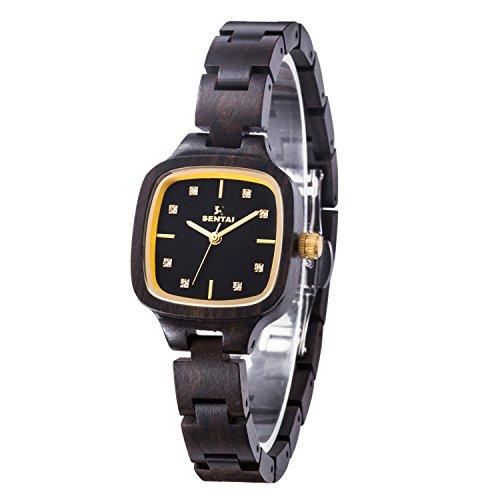 Damen Holz Uhr Sentai Handgefertigte Holz Uhr Natürliche hölzerne Armbanduhr Vintage Quarz Uhren 12mm Elegante Holzuhr Diamanten Quadratisches Zifferblatt Super Geschenk Schwarzes Sandelholz