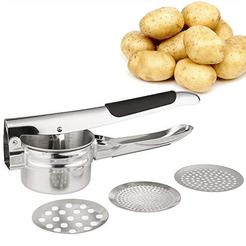 FUKTSYSM Kartoffelpresse - Mit großem Fassungsvermögen aus 304 Edelstahl rostfrei Premium Kartoffelpresse, Spülmaschinenfest, Obst/Kartoffelpresse (Multipresse mit 3 Siebeinsätzen für Spaghettieis)
