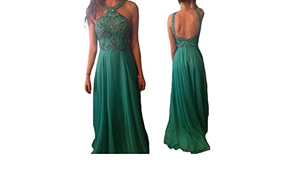HONGFUYU Womens Prom Dress 2018 Green Long Charming Sexy Side Slit Custom Formal Dress Green-UK16: Amazon.co.uk: Clothing
