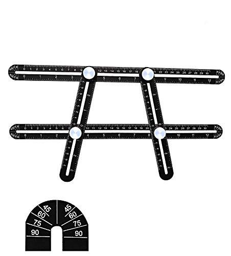 VIOY ABS Multifunktionsklapplineal Activity Edelstahl Aluminiumlegierung quadratisch,Schwarz,Einheitsgröße